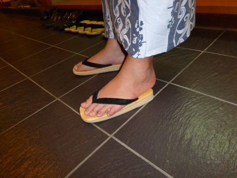 Jensen's feet are too big for ryokan slippers